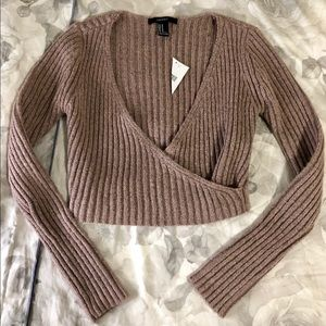 Forever 21 mauve crop top sweater